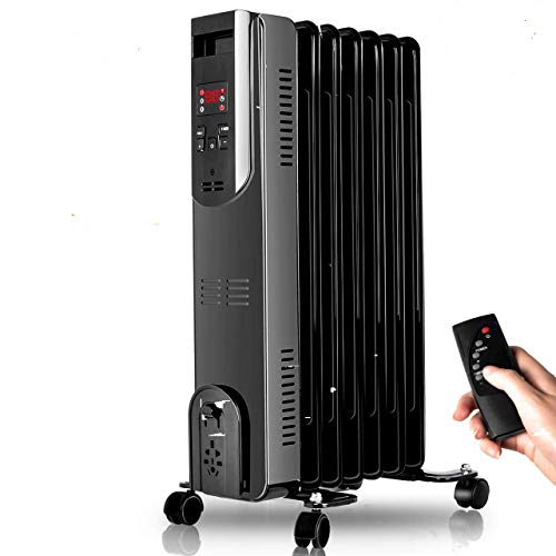Radiator Heater - 1500W Oil Heater with Remote, 250 Sq Ft Coverage, Oil Filled Space Heater with Thermostat, LED Digital Display, Dual-Safety Protect, Electric Oil Filled Radiator Heater Room Office