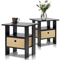 Furinno Andrey End Table/Side Table/Night Stand/Bedside Table, Espresso, Set of 2