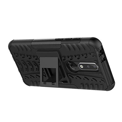 Prime Retail Nokia 5.1 Plus Hybrid Armor Back Cover Case with Kickstand Wheel Pattern for Nokia 5.1 Plus(Black) 5