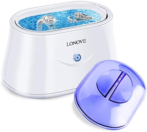 Ultrasonic Jewelry Cleaner – Professional Ultrasonic Cleaner for Rings Eyeglasses Watches Coins Tools Razors Earrings Necklaces Dentures,Portable Jewelry Cleaner Ultrasonic Machine with 25 Ounces Tank