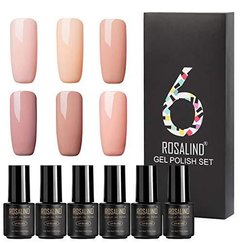 ROSALIND Gel Nail Polish Nude Colors 6pcs Varnish Environmental Colorful Soak Off UV LED Semi Permanent Nails Art Natural Colors