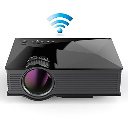 Dinly Updated Full Color 130' Image Entertainment Home Cinema Theater Multimedia Portable LCD LED Pico Projector 800x480p/1200 Lumens Wifi/Usb/av/sd/hdmi/vga/ IP/IR Video Games Movie