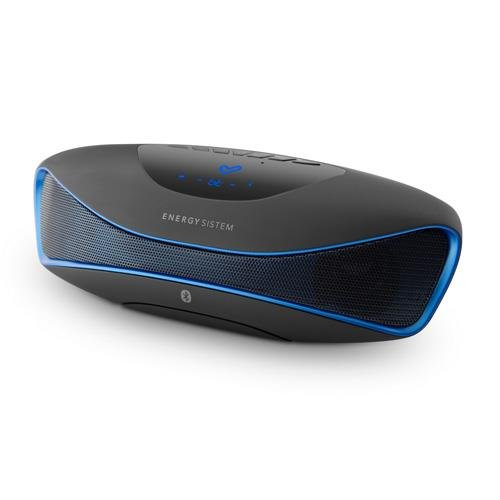 Energy Sistem Music Box BZ3 - Altavoz portátil con Bluetooth (USB/SD, FM, Audio-In, display retroiluminado) negro y azul
