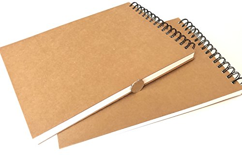 VEEPPO Top Bound Spiral Notebooks Extra Thick Top Wire Bound Note Pads 700g (1cm) Hard Kraft Cover 160g Thick Blank Sketch Book Extra Big Wire Scrapbook(2 Pack A4-21 x 29cm)