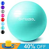 arteesol Exercise Yoga Ball, Extra Thick Stability Balance Ball (45-75cm), Professional Grade Anti Burst&Slip Resistant Balance, Fitness&Physical Therapy, Birthing Ball with Air Pump (oceanblue, 75cm)