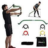 Gorilla Bow Portable Home Gym Resistance Band System, Weightlifting and HIIT Interval Training Kit, Full Body Workout Equipment (Green)