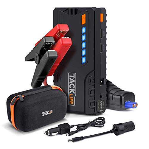 TACKLIFE T6 Car Jump Starter - 600A Peak 16500mAh, 12V Auto Battery Jumper with Quick-charge, Booster (up to 6.2l gas, 5.0l diesel), Portable Power Pack for Cars, Truck, SUV, UL Certified