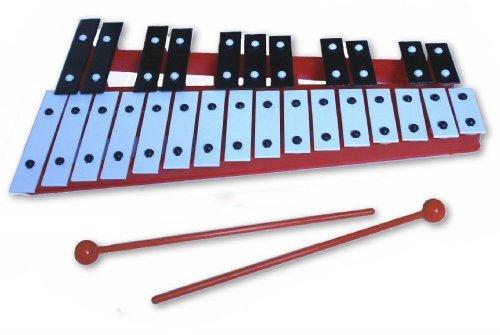 Red 27 Key Chromatic Glockenspiel Xylophone - Notes Engraved into Metal Keys