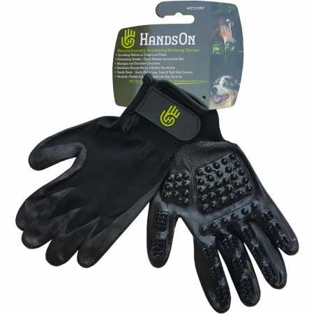 HandsOn Medium Bathing/Grooming/SheddingGloves, De-Shedding Gloves for Horses/Dogs/Cats/Livestock/Small Pets
