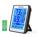 RINKMO Digital Hygrometer Indoor Thermometer Accurate Humidity and Temperature Gauge Indicator with Touch LCD Backlight Humidity Monitor for Home, Office,200ft/60m Range