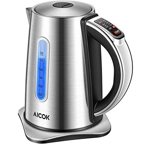 Electric Kettle Temperature Control Electric Tea Kettle, Solid Stainless Steel Temperature Water Kettle with LED indicator, 1500W Cordless Electric Kettle 1.7 Liter Capacity Hot Water Kettle BPA-free, Aicok