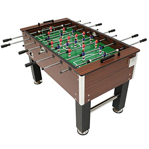 Sunnydaze 55-Inch Faux Wood Foosball Table with Folding Drink Holders, Sports Arcade Soccer for Game...