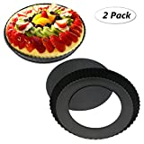TedGem 2 Pack Non-Stick 8.8 Inches Removable Loose Bottom Quiche Tart Pan