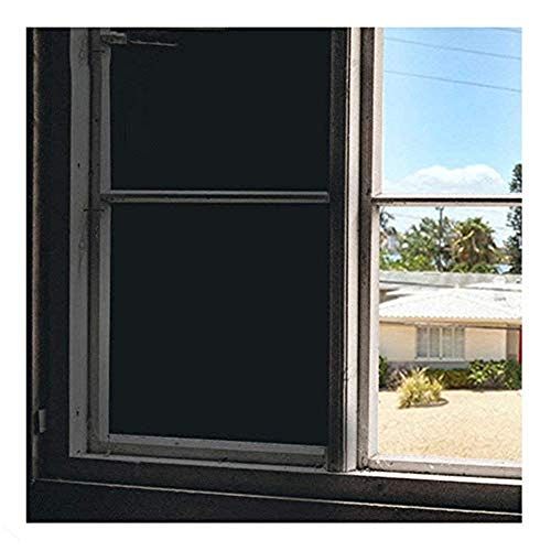 Soqool Blackout Window Film Privacy Window Vinyl 100% Light Blocking Room Darkener Window Cover - Sun Light Control Window Darkener for Day Sleep/Privacy, No Glue Easy Removal/Install (17.7' x 78.7')