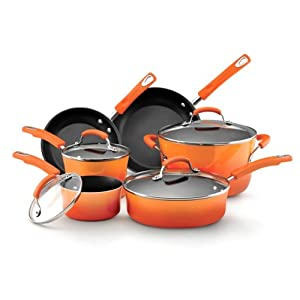 Rachael Ray Hard Enamel, 10-Piece, Orange Gradient