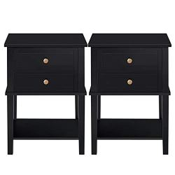 YAHEETECH Tall End Tables with 2 Drawers and Open Shelf Wood Cabinet Sofa Side Storage for Living Room, Set of 2, Black