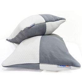 Wakefit Hollow Fibre Pillow, 68.58 cm X 40.64 cm, White and Grey, 2 Pieces
