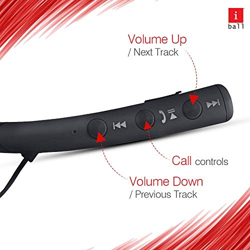 iBall EarWear Base BT 5.0 Neckband Earphone with Mic and 12 Hours Battery Life (Black) 4