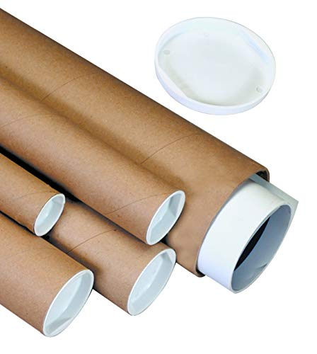 BOX-USA-BP1506K-Mailing-Tubes-with-Caps-1-12-x-6-Kraft-Pack-of-50
