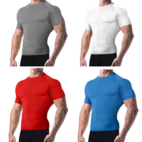 Copper Compression New Colored Short Sleeve Shirt - Guaranteed Best Copper + Zinc Mens T-Shirt with Infused Fit. Support Stiff + Sore Muscles. Basketball, Football, Sports Wear (Large - Blue)
