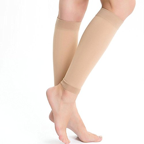 Kingbridal Women's Medical Compression Stockings 15-20mmhg,Knee High,Open Toe Toeless Compression Socks Calf Compression Sleeve Footless Socks for Swelling,Varicose,Veins,Edema,Baseball Nude
