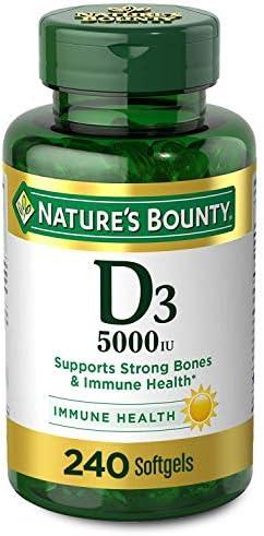 Vitamin D3 by Nature's Bounty for Immune Support. Vitamin D Provides Immune Support and Promotes Healthy Bones. 125 mcg (5000iu), 240 Softgels