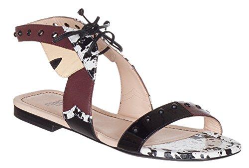 "41EA0gl880L FENDI leather monster face sandal Studded strap bands open toe 0.5"" stacked heel"