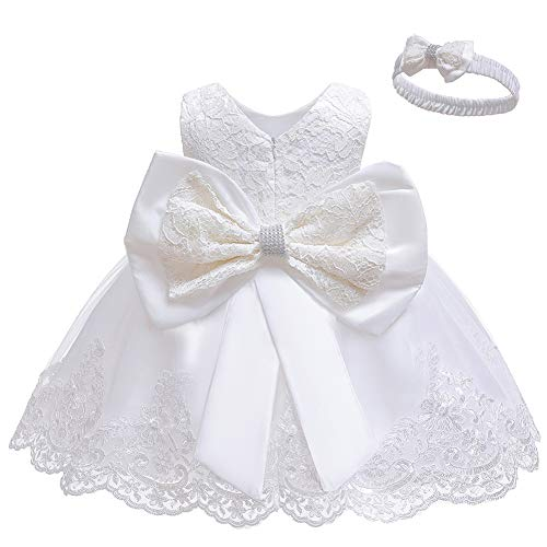 LZH Baby Girls Formal Dress Bowknot Birthday Embroidery Tutu Dress with Headwear(8348-White,24M/18-24 Months)
