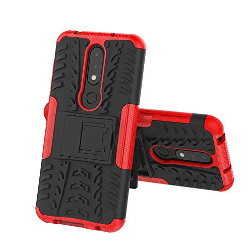 Casodon Nokia 6.1 Plus, Back Cover, Red Premium Real Hybrid Shockproof Bumper Defender Cover, Kick Stand Back Case Cover for Nokia 6.1 Plus 3