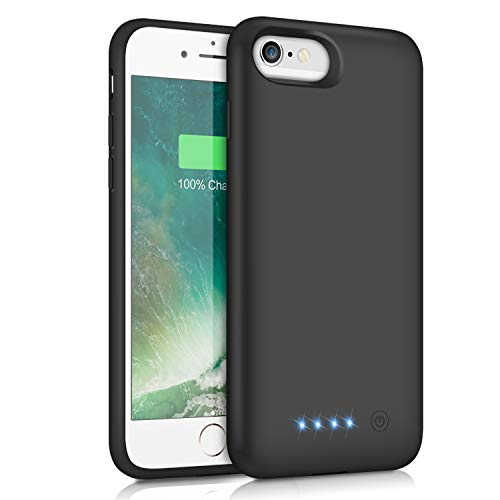 Pxwaxpy Battery Case for iPhone 6S 6 6000mAh Rechargeable Charging Case for iPhone 6 External Charger Cover iPhone 6S Battery Pack Apple Power Bank [4.7 inch]- Black