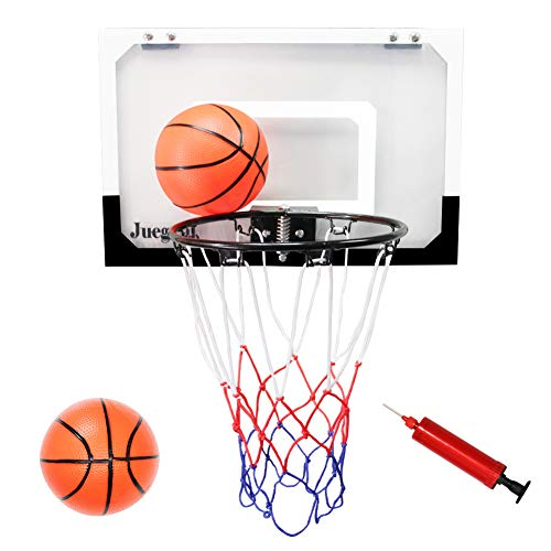 Juegoal Mini Basketball Hoop for Slam Dunk with 2 Balls and 1 Inflator, 18' x 12' Shatterproof Backboard Ball Game for Home and Office Door