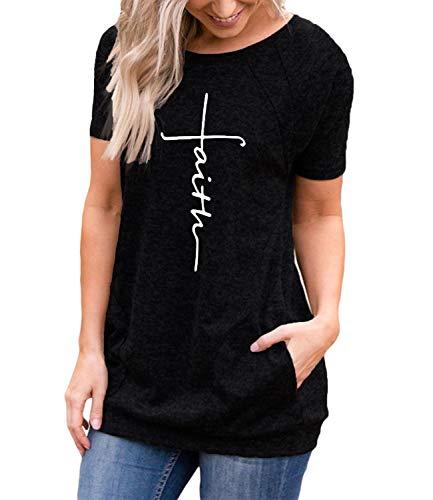 ZILIN-Womens-Casual-Faith-Print-Summer-Graphic-T-Shirt-Short-Sleeve-Tunics-Tops-with-Pockets