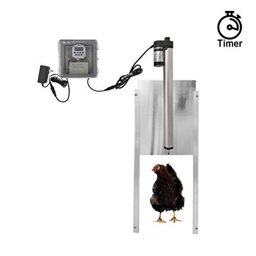 JVR Automatic Chicken Door Coop Opener Kit, Waterproof Outdoor Timer Controller Actuator Motor, 12V DC Power Supply (Timing)