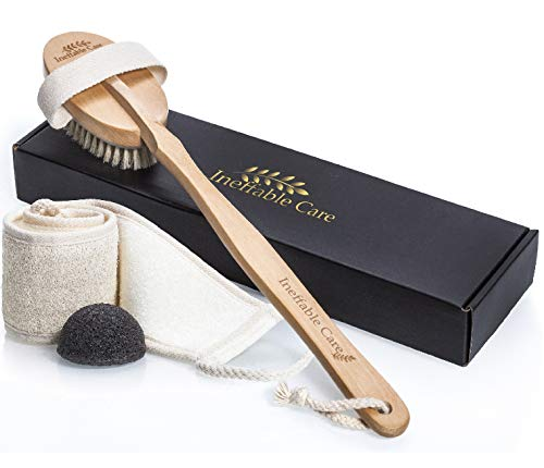 Loofah Back Scrubber & Body Brush for Dry Skin Brushing with 100% Natural Boar Bristles and Long Handle - Exfoliating Konjac Sponge - Back Scratcher Brush, Bath and Shower Cellulite Brush Gift set