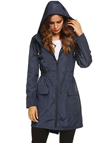 LOMON Women Waterproof Lightweight Rain Jacket Active Outdoor Hooded Raincoat (XXL, Navy Blue)