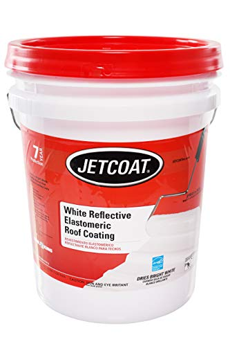 Jetcoat Cool King Elastomeric Acrylic Reflective Roof Coating, White, 5 Gallon, 7 Year Protection