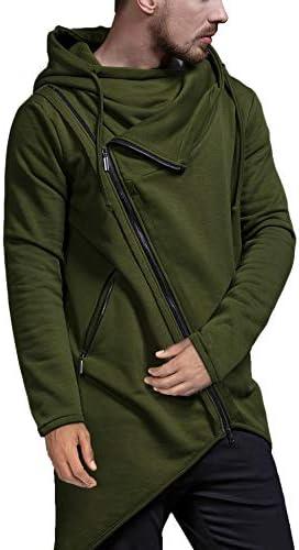 COOFANDY Men's Fashion Hoodie Lightweight Casual Sweatshirt Irregular Hem Pullover Hip Hop Long Length Zipper Hooded