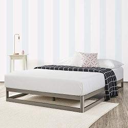 Mellow 9″ Metal Platform Bed Frame w/Heavy Duty Steel Slat Mattress Foundation (No Box Spring Needed), Queen, Grey