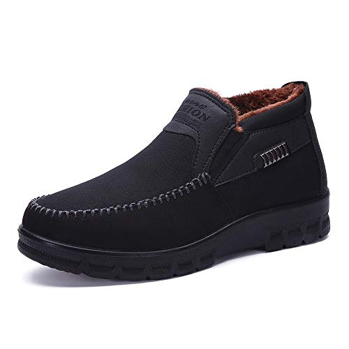 Caopixx Shoes for Men Winter Casual Men's Slipper Boot with Warm Non-Slip Lightweight Snow Boots