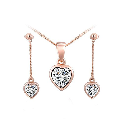 joyliveCY Women Charm Jewelry Set Earrings Necklace Rose Gold Heart Shaped Kit