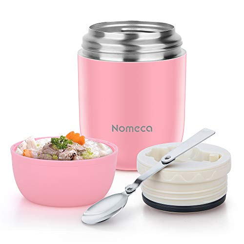 Food Jar Insulated Lunch Containers Nomeca 16 Oz Stainless Steel Thermoses Food Flask Lunch Vacuum Bottle with Folding Spoon (Pink)