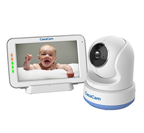 CasaCam BM200 Video Baby Monitor with 5' Touchscreen and HD Pan & Tilt Camera, Two Way Audio, Lullabies, Nightlight, Automatic Night Vision and Temperature Monitoring Capability (1-cam kit)