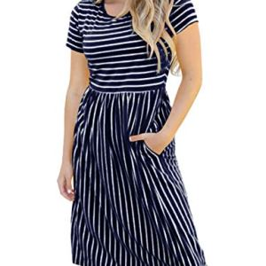 MEROKEETY Women's 3/4 Balloon Sleeve Striped High Waist T Shirt Midi Dress with Pockets 23 Fashion Online Shop gifts for her gifts for him womens full figure