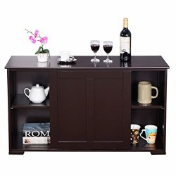 Brown Storage Cabinet Cupboard Buffet Sideboard Dining Kitchen Pantry Shelves