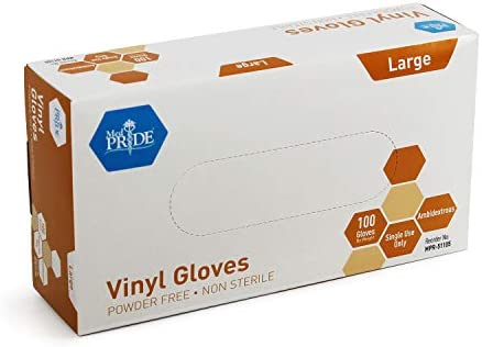 Medpride Vinyl Gloves| Giant Field of 100| 4.three mil Thick, Powder-Free, Non-Sterile, Heavy Responsibility Disposable Gloves| Skilled Grade for Healthcare, Medical, Meals Dealing with, and Extra