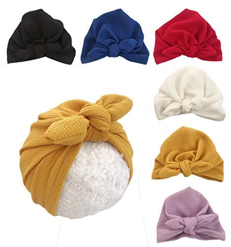Xinshi Newborn Hat Soft Turban Baby Girl Big Bow Knot Cap (XS-M1(6PCS))