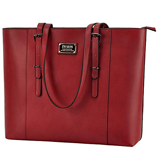 ZYSUN Laptop Bag, Fashion PU Leather Women Work Tote Fits up to 15.6 in Laptop with Multi-Compartment for Office School Awesome Red