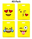 LiveEco Emoji Party Favor Treat Bags 40-Pack (9x12), Great for Kids Birthday Parties, Celebrations, Fun Classroom Rewards, Carnivals, Games & Candy Goodie Grab Bag, Deluxe Emoticon Gift Supplies