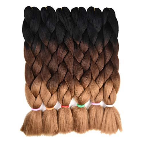 6 Packs Ombre Braiding Hair Kanekalon Braiding Hair Extensions 24 inches Black-Dark brown-Light brown