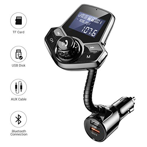 Bluetooth FM Transmitter for Car, Ainope Upgrade V4.2 Car Radio Bluetooth Adapter with QC3.0 & 2.4A Fast Charging, Hands-Free FM Transmitter Bluetooth for Large Screen Support TF/SD Card, U-Disk